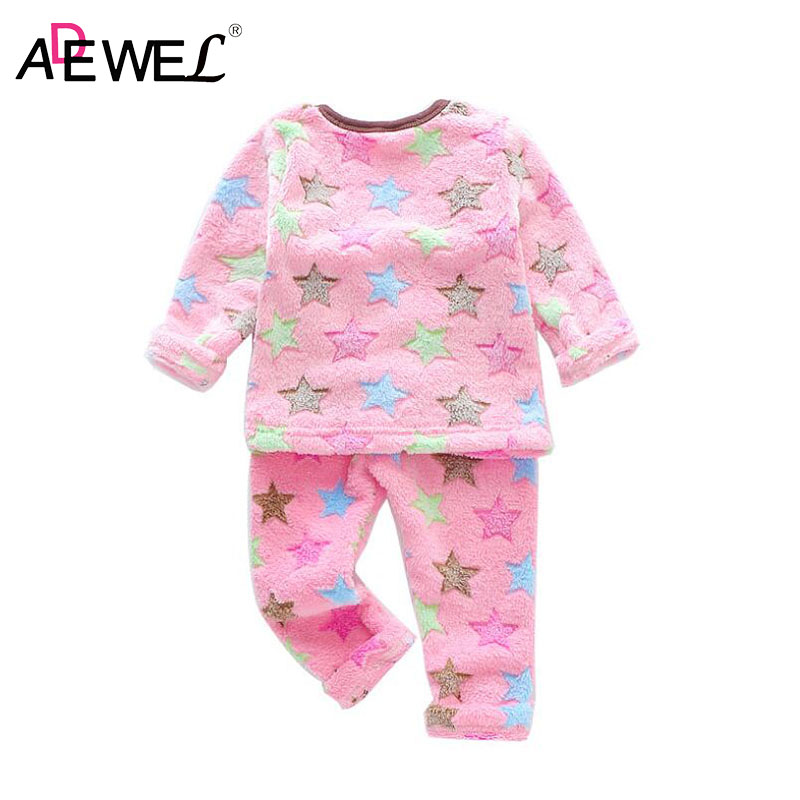 цены ADEWEL 1 2 3 4 5 Year Children's Flannel Pajamas Two-piece Set Cartoon Kids Sleepwear Suit Little Girls Winter 2018 Warm Clothes