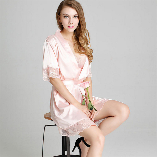 Sexy women Robe Sets nightwear High-grade real silk hollow out lace Short sleeve sleepwear(bathrobe + straps nightgown)two piece