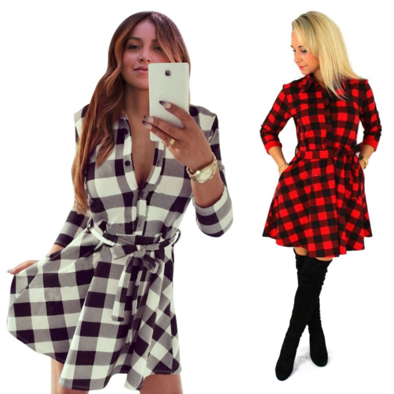 ea8dd73638c 2019 Women Plaid Flannel Short Mini Dress 3 4 Sleeve Shirt Dress Belted  Dress-in Dresses from Women s Clothing on Aliexpress.com
