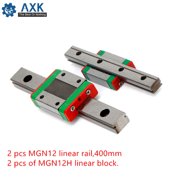 Linear Carriage Rail 3d Printer Part Guide Kossel For 12mm 400mm Set Mgn12 Cnc 2 Pcs Rail,400mm Motion Guideway Bearing Steel