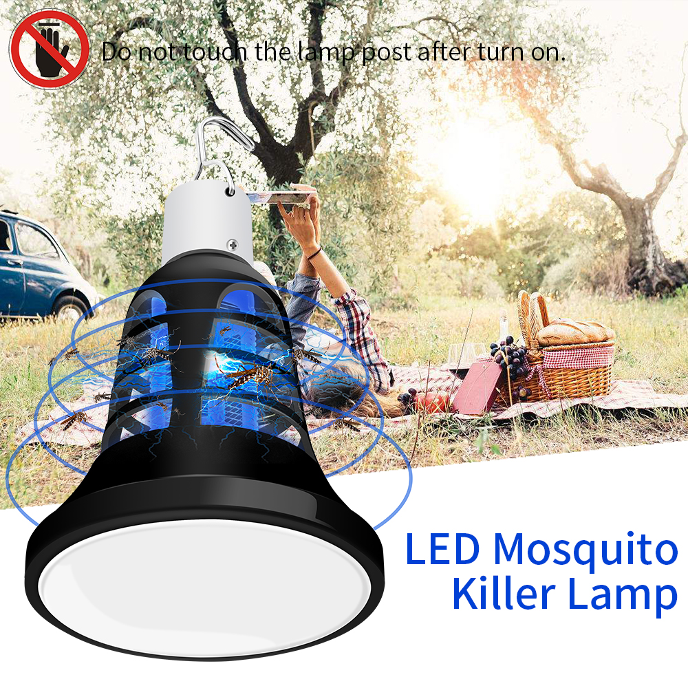 Indoor Electric LED Light Mosquito Insect Killer Lamp Harmless Bug Fly Zapper Trap Pest killer Tools E27 LED Bulb 110V/220V 8W