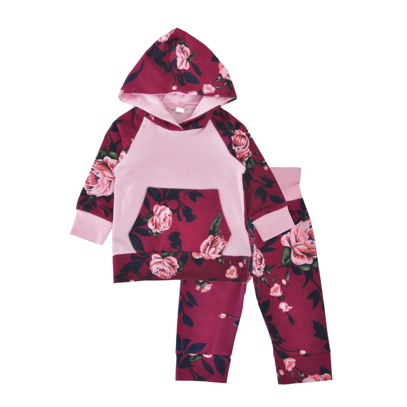 2018 New Autumn Girls Sports Suit Childrens Flowers Print Hooded Sweatpants Two-piece Pants