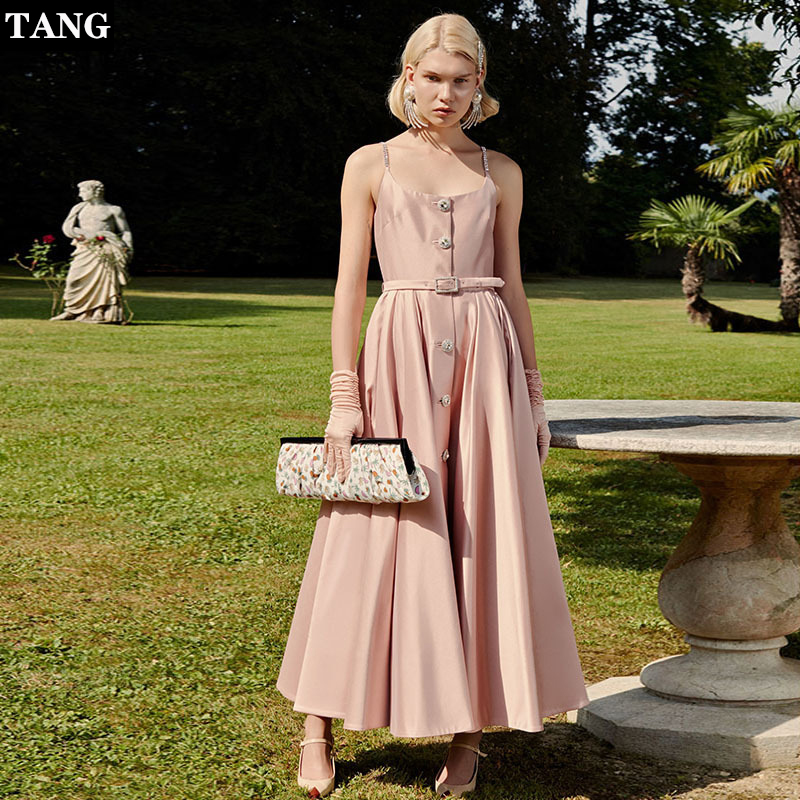 Tang New Diamond Chain Sling Dress Single breasted Belt Swing Dress Sexy Backless Temperament Dinner Party Dress.A