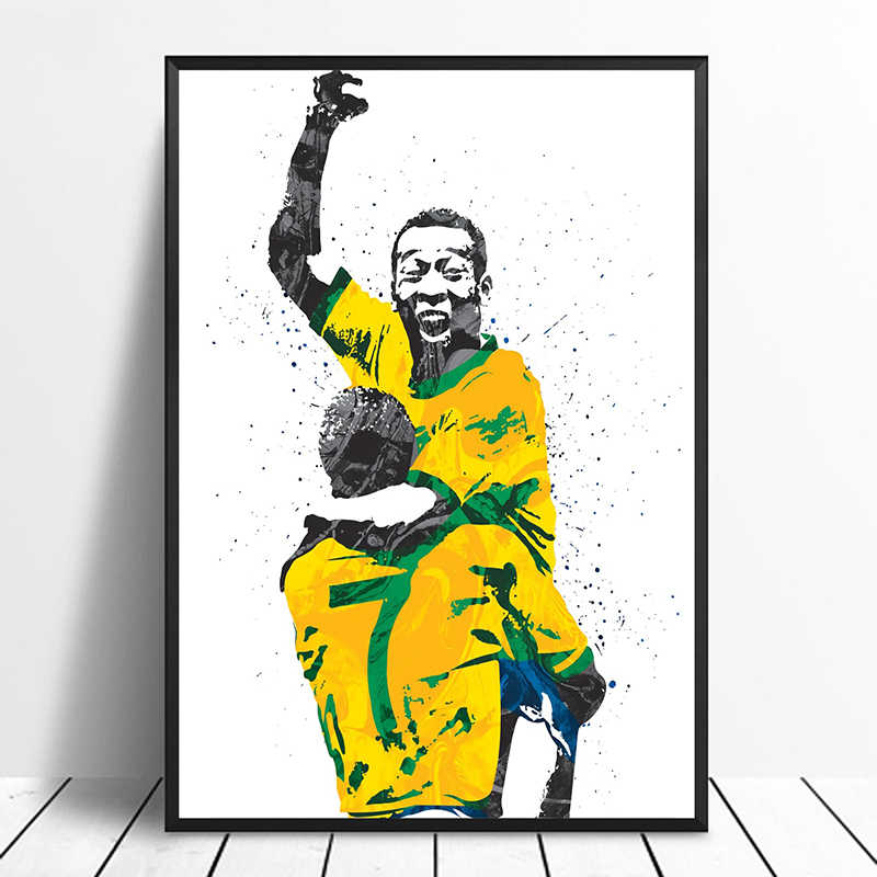 Pele Brazil Soccer Football Star Sports Canvas Poster Wall Art Print Kids Decor Home Decor Wall Decor Canvas painting
