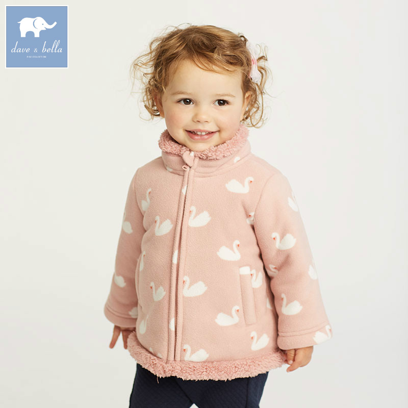 DB6134 dave bella autumn infant baby girls 3 color coat kids fashion clothes toddler printed coats children high quality clothes