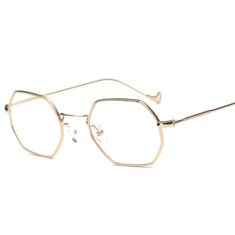 Peekaboo gold thin metal frame glasses men optical clear lens ...