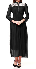 New 2016 Muslim Womens Abaya Kaftan Chiffon Maxi Long Sleeve Dress Stand Neck Mid-Calf Empire Waist Islamic Styles Long Dresses