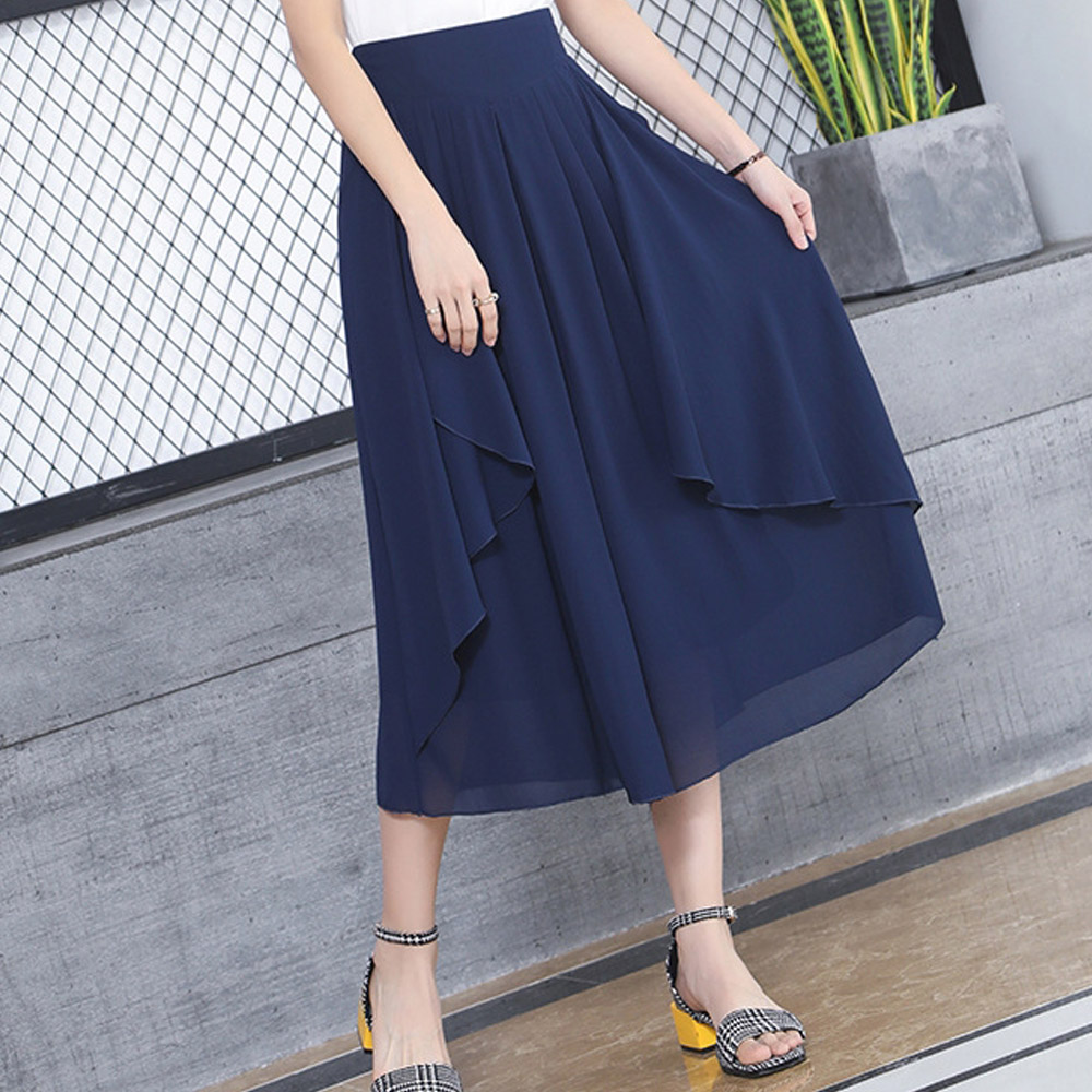 Women Casual Wide Leg Ankle-Length   Pants   2019 Summer High Elastic Waist OL Formal Trousers Solid Office Lady Loose   Pants     Capris