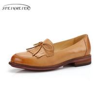 Women Penny Loafer Sheepskin Moccasin Genuine Leather Slip Tassel Flats Casual Dress Shoes Handmade Oxford Shoes