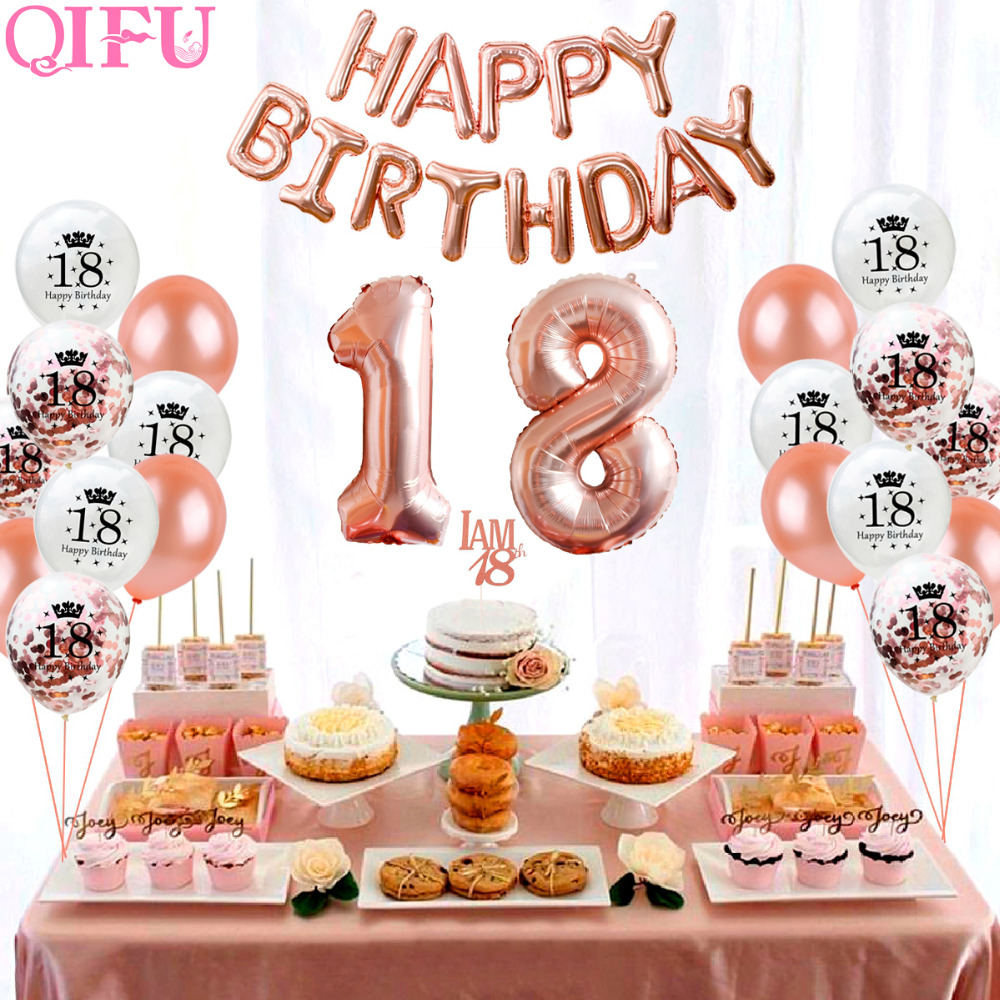 QIFU Sweet 18 Rose Gold Party Table Decoration Happy Birthday Decorations Kids Adult 18th