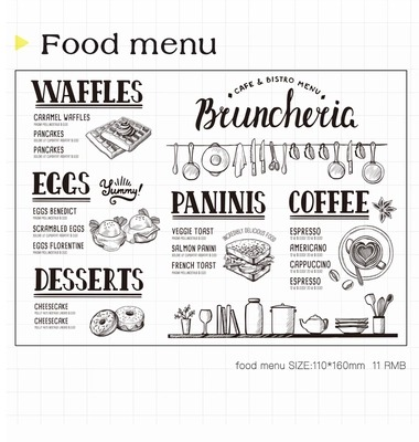 WYF932 Food Menu Scrapbook DIY Photo Album Cards Transparent Acrylic Silicone Rubber Clear Stamps Sheet  11x16cm wyf1017 scrapbook diy photo album cards transparent silicone rubber clear stamp 11x16cm camera
