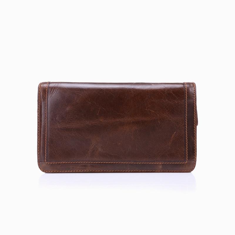 Brand Mans Plånböcker Äkta Läder Mynt Dubbla Zipper Pocket Mäns - Plånböcker - Foto 6