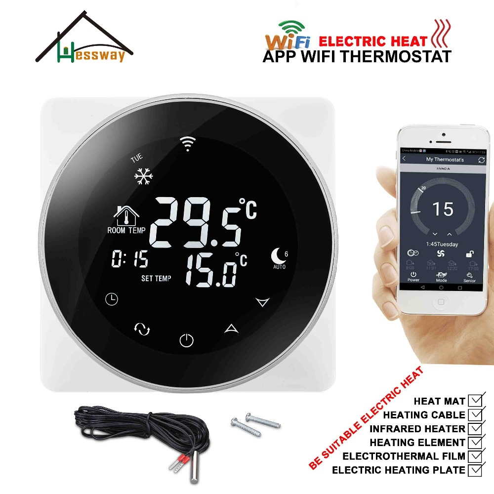 HESSWAY Aluminum Alloy EU 16A Programmable WIFI THERMOSTAT Carbon Fiber Heating Cable For Double Sensor