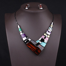 New Arrive Big Fashion Necklace Earring Set Choker Colorful Necklace Brand Punk Jewelry Set Statement Women Necklace 2016