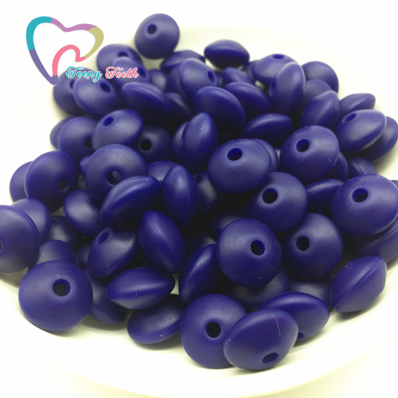 Teeny Teeth 50PCS Navy Silicone Teether Pendant Lentils Beads Silicone Teething Lentils Beads Loose Beads Abacus For DIY Jewelry