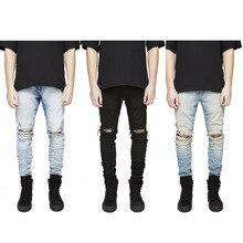 Men Hiphop Holes Jeans Runway Slim Racer Biker Jeans Fashion Skinny Elasticity Jeans for Men
