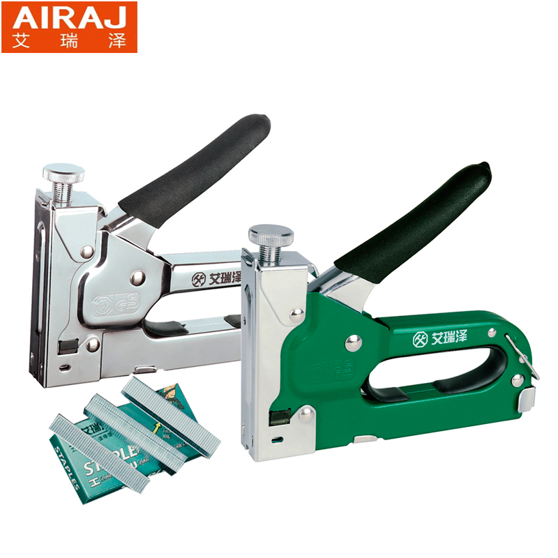 AIRAJ 3-way Heavy Duty Hand Nail Gun Stapler Furniture Staples With 600pcs Nails Include By Free Woodworking Tacker Staples comix durable 50 page 12 stapler w staples blue 3 pcs
