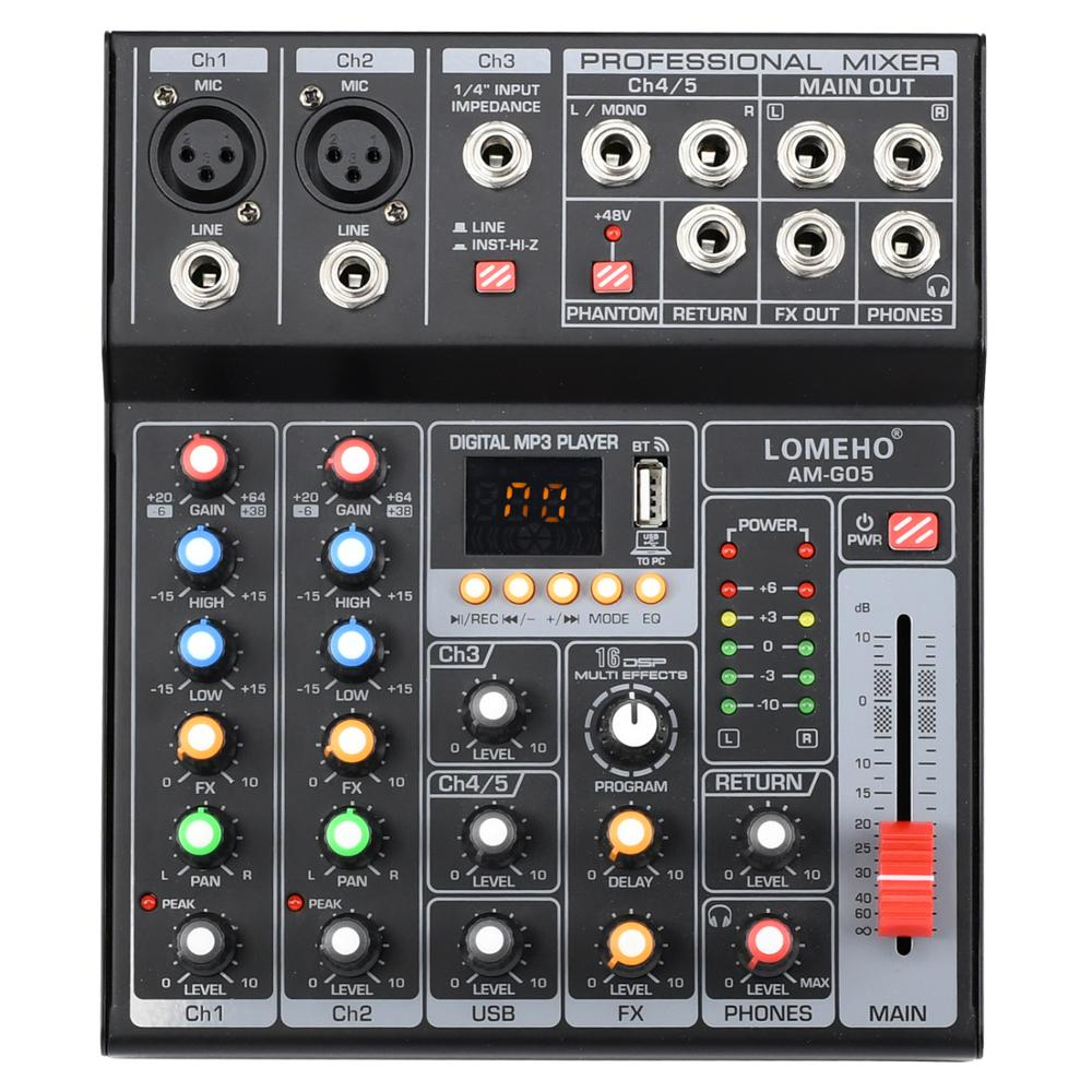 LOMEHO AM-G05 Portable Bluetooth USB Play Record 5 Channel PC Playback Guitar 2 Mono 1 Stereo Professional Audio Mixer