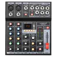 LOMEHO AM-G05-mezclador de Audio profesional estéreo 2 Mono 1 Portátil con Bluetooth, reproducción de discos USB, 5 CANALES, reproducción de PC