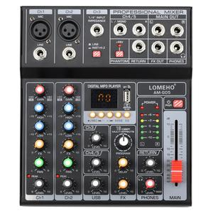 Image 1 - LOMEHO AM G05 휴대용 블루투스 USB 재생 기록 5 채널 PC 재생 기타 2 모노 1 스테레오 전문 오디오 믹서