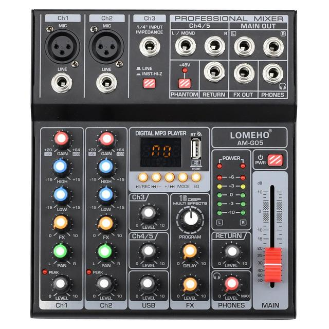 LOMEHO AM G05 휴대용 블루투스 USB 재생 기록 5 채널 PC 재생 기타 2 모노 1 스테레오 전문 오디오 믹서