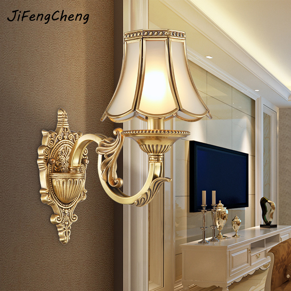 JIFENGCHENG European Full Copper Wall Lamp American Bedside Lamp Antique Bedroom Lamp Living Room Corridor Aisle Wall Lamp