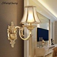 JIFENGCHENG European Full Copper Wall Lamp American Bedside Lamp Antique Bedroom Lamp Living Room Corridor Aisle Wall Lamp