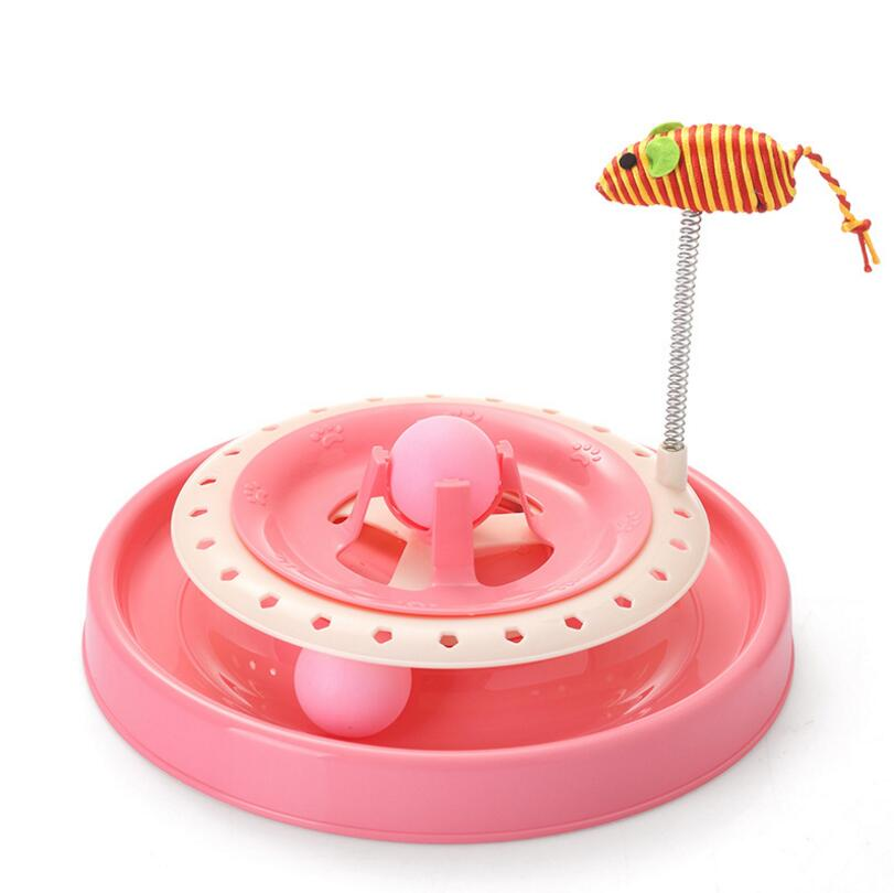 New Cat Toy Turntable Eduactional Funny Crazy Dog Amusement Plate Mouse Spring Cat Toys Cat Turntable Pet Interactive Toys