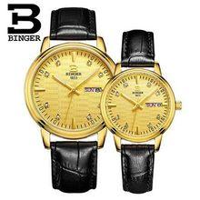 Relogio masculino Binger Mens Watches Top Brand Luxury Business Casual Women Thin Wristwatch Stainless Steel Lover Quartz Watch