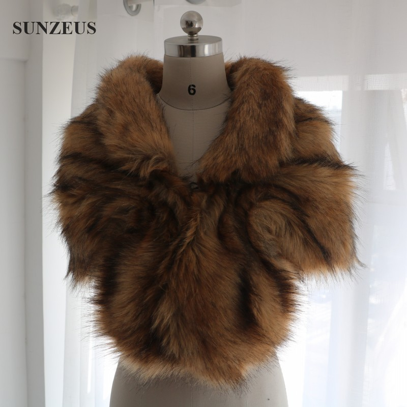 Sunzeus Real Photos Faux Fur Stoles Women's Winter Wedding Coat Warm Bridal Wraps High Quality Evening Bolero New Stock CPD026