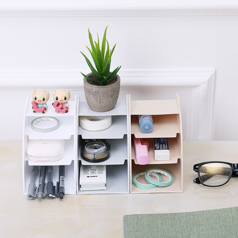 1Pcs Multifunctional Trapezoidal Storage Box Home Desktop Sundries Make Up Organizer Remote Control Phone Storage Box in Storage Holders Racks from Home Garden