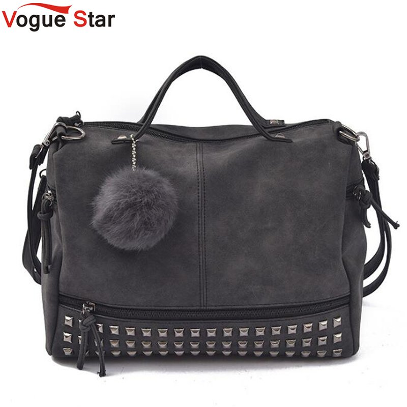 Vintage Nubuck Leather Female Top-handle Bags Rivet Larger Women Bags Hair Ball Shoulder Bag Motorcycle Messenger Bag LB447 2016 new arrive women bag women shoulder bag nubuck leather vintage messenger bag motorcycle crossbody bags f40 657