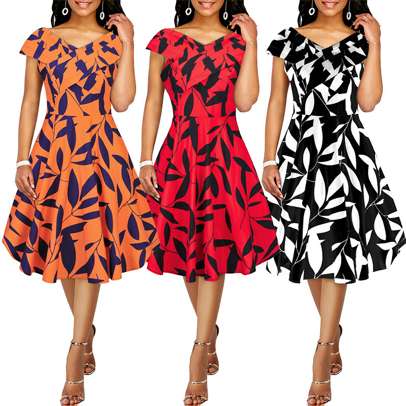 Á'Ž 2019 Summer Dress Women Sweet Print Floral Fashion Casual Deep V Sexy Dress Splice Female Elegant Beach Rockabilly Party Dresses A957