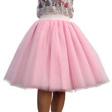 4d11e11ec7 Custom Made Women Tulle Skirt 6 Layer of White Pink Black Ball Gown High  waist falda Midi knee length Plus Size Tutu skirts