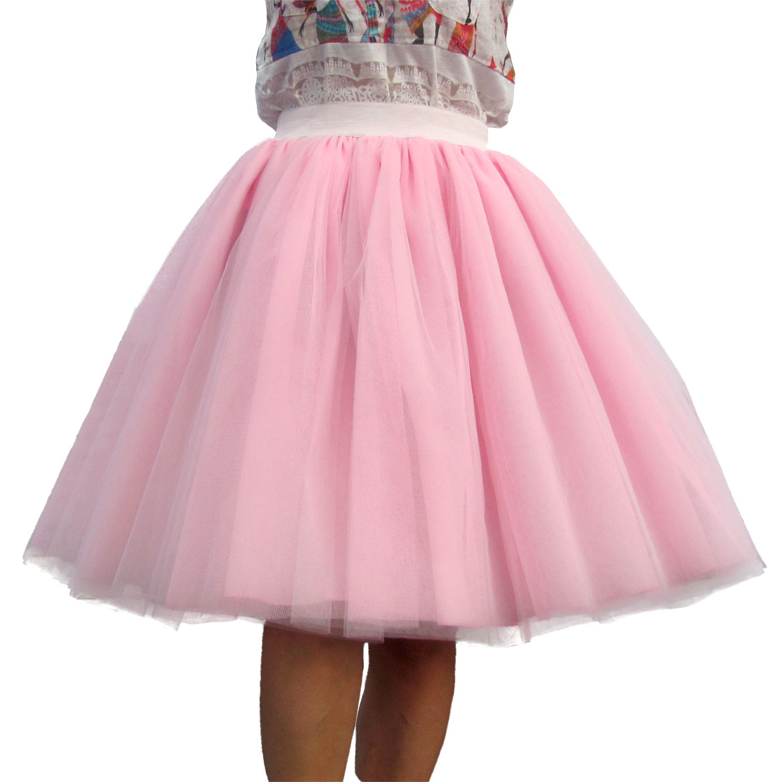 مخصص المرأة تول تنورة 6 طبقة من الأبيض الوردي الأسود الكرة ثوب ارتفاع الخصر falda ميدي الركبة طول زائد حجم توتو التنانير
