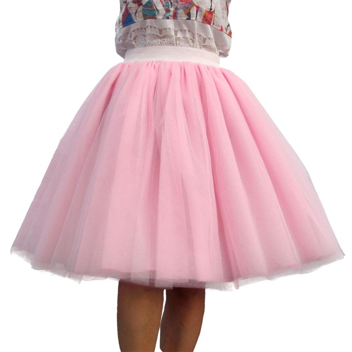 Maatwerk Dames Tule Rok 6 Laag van Wit Roze Zwart Baljurk Hoge taille falda Midi knielengte Plus Size Tutu rokken