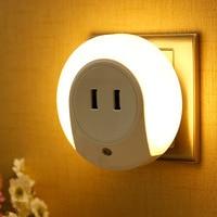 LED Night Light Sensor 2 USB Charging Socket Mobile Phone Charger Nursery Wall Lamp 0 5W
