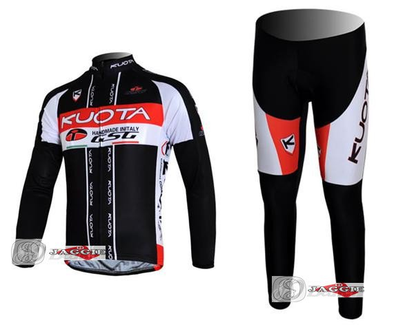 3D Silicone!!! 2011 Kuota long sleeve jerseys cycling wear clothes bicycle/bike/riding jerseys+pants sets