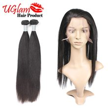 2 Bundles Hair with 360 Lace Closure 360 Lace Virgin Hair Brazilian Straight Hair 360 Lace Frontal with bundle Human Hair