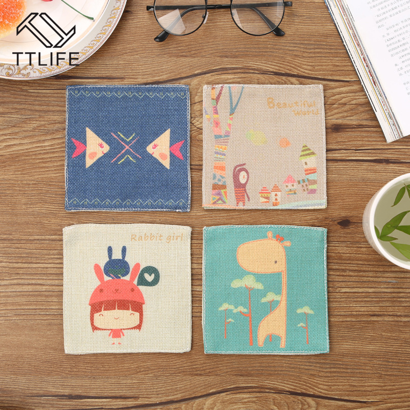 TTLIFE 4 Pcs 100% Cotton And Linen Mat Placemat Non-slip Heat Resistant Dining Table Mat Cup Coaster Kitchen Gadget Accessory