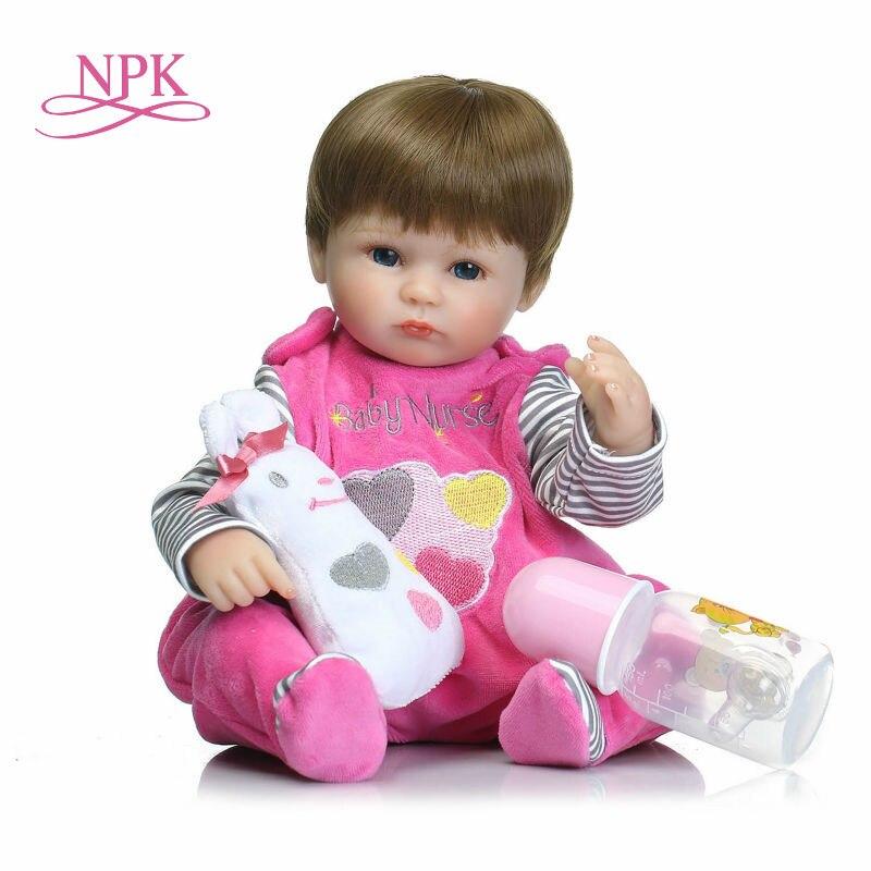 NPK 18 pouces 42 cm silicone reborn bébé poupée Bonecas Bébé Reborn réaliste sucette magnétique bebe poupée reborn pour fille cadeaux jouets