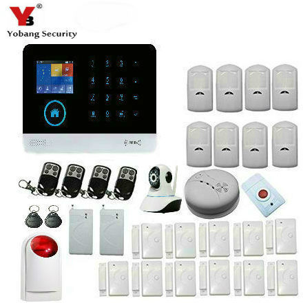 Yobang Security WIFI GSM Home Security Alarm System DIY KIT IOS/Android Smartphone App PIR Main Panel Door/window Sensor yobang security touch screen gsm wireless wifi gprs home alarm system android ios app controls pir detector door window sensor