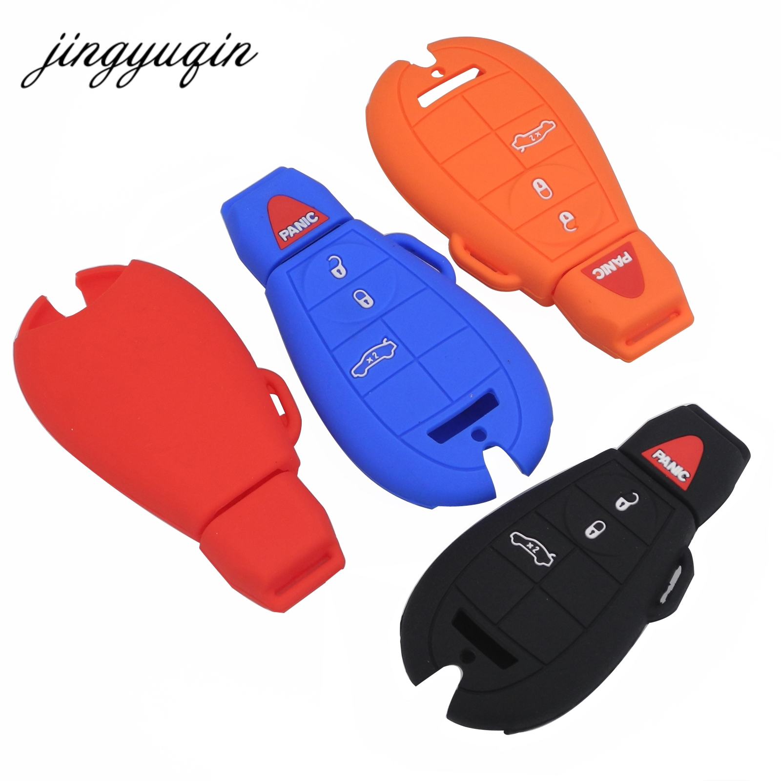 цена на jingyuqin Silicone Case for fiat Chrysler 300 Dodge JCUV Ddart Jeep Grand Cherokee Compass Patriot 4 Button Car Key Cover