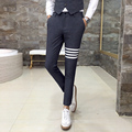 Men's casual pants Striped patch Slim fit stylish men dress suit pants High-end wedding 2017 autumn new men's business gentleman
