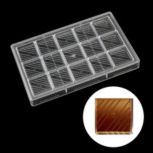 DIY Square diagonal stripes candy bar Polycarbonate chocolate mold Confectionery tools for decorating cakes  baking pastry tools