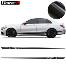 2pcs AMG Edition C63 507 Side Stripe Skirt Decals Stickers For Mercedes Benz C Class W204 Matte Black
