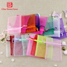 100pcs/lot Hot Sale Real Organza Bag 7.5*10cm Drawstring Bags Jewelry Packaging Multicolor Pouches Wedding Christmas Gift