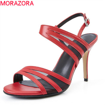 MORAZORA 2019 new arrival genuine leather shoes women sandals solid colors buckle high heels shoes ladies summer shoes woman