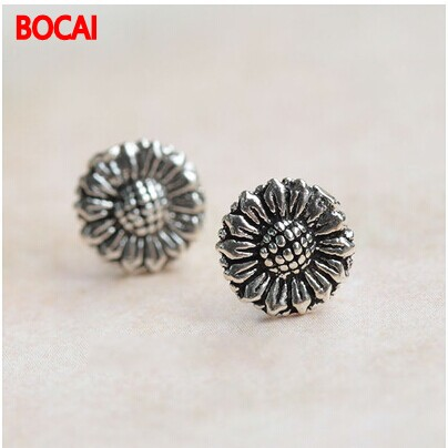 925 sterling silver earrings wholesale silver earrings retro sunflower sunflower flower earrings wholesale Tremella nail