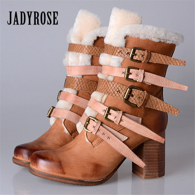 Jady Rose Winter Warm Snow Boots Women Genuine Leather Ankle Boots Straps Chunky High Heel Botas Platform Shoes Woman 2018 fedonas top quality winter ankle boots women platform high heels genuine leather shoes woman warm plush snow motorcycle boots